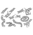 sketches chain links and lock bond and padlock vector image vector image