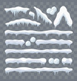 snow ice icicle set winter design white blue snow vector image vector image