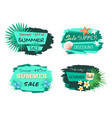 summertime green labels with foliage palm trees vector image vector image