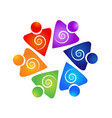teamwork swirly people icon vector image vector image