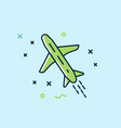 the plane flies icon flat vector image vector image