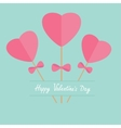 Three sticks with hearts and bows word love Flat vector image