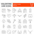 valentine thin line icon set romantic symbols vector image vector image