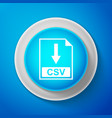 white csv file document icon download csv button vector image vector image