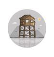 wooden bay watch tower in line art vector image