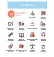 3d printing - line design style icons set vector image vector image