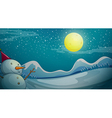 A snowman under the bright moon vector image vector image