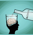 alcohol addiction violation of brain functions vector image vector image