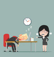 angry boss see businessman sleeping at work vector image vector image
