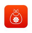 baby bib icon digital red vector image vector image