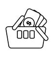 basket shopping money currency online line vector image vector image