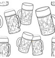 beer glass seamless pattern full mug retro vector image vector image