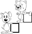 black and white cat and puppy holding banners vector image vector image