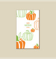 bright vegetable card with pumpkins organic farm vector image vector image