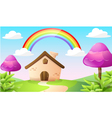 cartoon house and landscape vector image