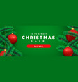 christmas sale banner 3d pine tree and red bauble vector image