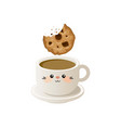 cup of coffee with cookies vector image vector image