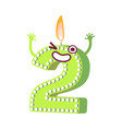 cute birthday candle number character two vector image vector image