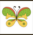 cute cartoon butterfly isolated on white vector image vector image