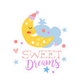 cute cartoon sleeping crescent and cloud sweet vector image