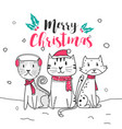 cute cat and merry christmas with doodle cartoon vector image vector image