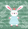 cute princess rabbit in the forest vector image vector image
