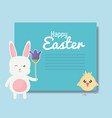 cute rabbit and chick easter characters vector image vector image