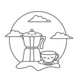 cute teapot with cup kawaii style vector image vector image