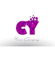 cy c y dots letter logo with purple bubbles vector image vector image