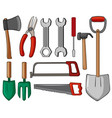 different types of hand tools vector image