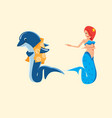 dolphin and mermaid cartoon vector image