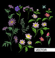 embroidery flowers vector image vector image