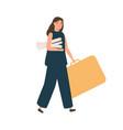 female architect or designer walking with big case vector image vector image
