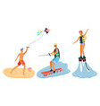 flying kite water skiing flyboarding vector image vector image
