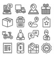 food delivery icons set on white background line vector image
