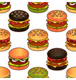 food seamless pattern with burger for girls vector image