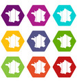 france icon set color hexahedron vector image