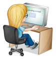 Girl using computer vector image vector image