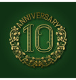 Golden emblem of tenth anniversary Celebration vector image vector image