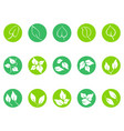 green leaf round button icons set vector image vector image