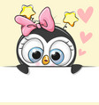 greeting card cute cartoon penguin girl vector image vector image