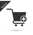 grey add to shopping cart icon isolated on white vector image