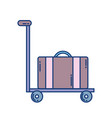 hand cart with suitcase travel aviation transport vector image