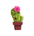 happy cactus character in a clay pot with flower vector image vector image
