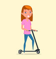happy girl with scooter flat vector image vector image