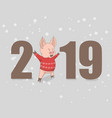 happy new year 2019 funny vector image vector image