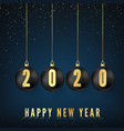 happy new year 2020 greeting card with black vector image vector image