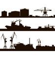 Harbour Skyline Silhouette Set vector image