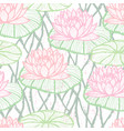 ink hand drawn lotus seamless pattern pink vector image