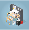 isometric office workplace vector image